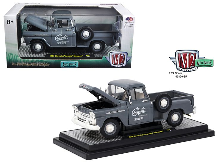 """1958 Chevrolet Apache Stepside Truck Granite Gray 1/24 Diecast Model Car by M2 Machines - Brand new 1:24 scale diecast model car of 1958 Chevrolet Apache Stepside Truck Granite Gray die cast car model by M2 Machines. This """"Task Force"""" truck is painted in Granite Gray. The grill and bumpers are painted White. There's a vintage Chevrolet service logo on the doors. The Apache is powered by the 283 Chevy V8 engine. Wheels are Granite Gray steel wheels with small White poverty caps. The tires are…"""