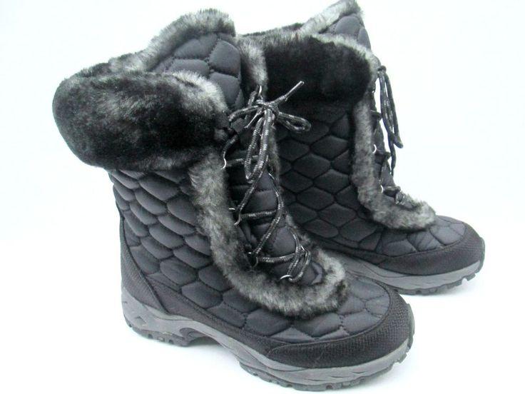 Black Boots  LL Bean Winter Womens Boots 8 Medium Lace Up Winter Boots #LLBean #SnowWinterBoots