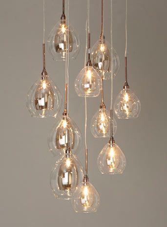 BHS // Illuminate Atelier // Carmella 10 Light Cluster // Glass and copper cluster ceiling light