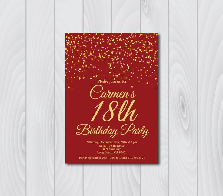 Any Age And Color 18th Birthday Invitation Printable Gold Etsy Printable Birthday Invitations 80th Birthday Invitations 60th Birthday Invitations