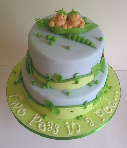 Twin Baby Shower Cake, If BoY's Blue, If Girl's Pink,