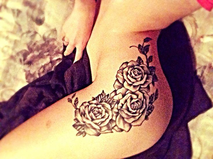 Hip/Thigh Rose Tattoo