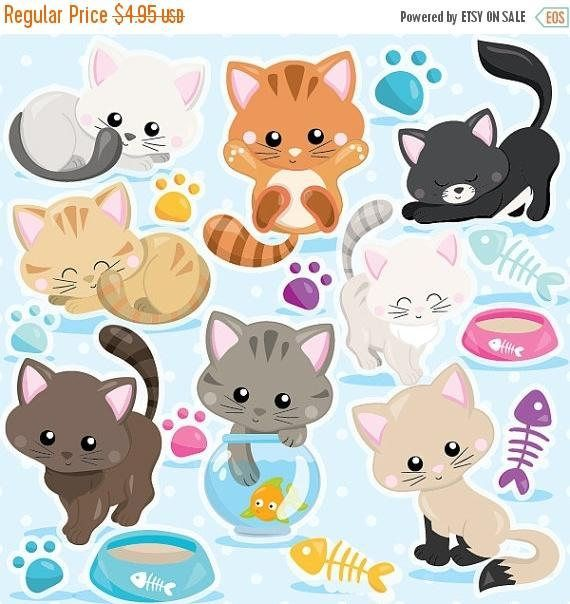 Buy 20 Get 10 Off Cat Clipart Commercial Use Kitten Cats Etsy Cat Clipart Kitty Cats And Kittens