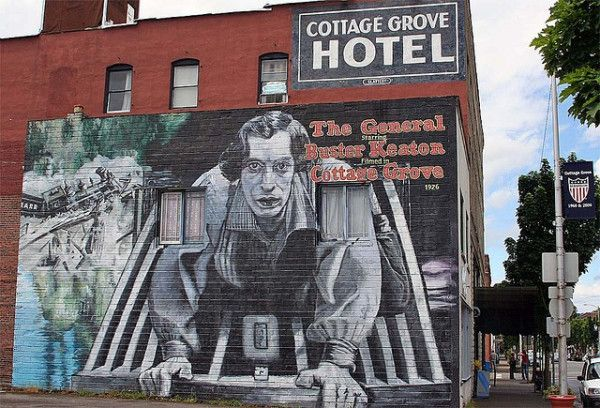 The General Buster Keaton Cottage Grove Oregon Mural Cottage Grove Cottage Grove Oregon Oregon