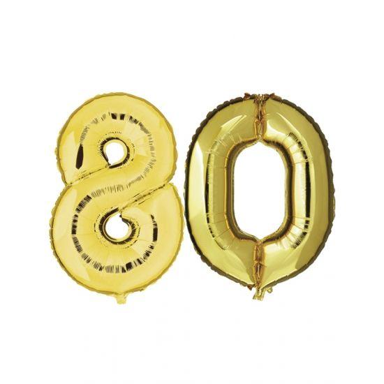 Verjaardag ballonnen 80 jaar goud  80 jaar folie ballonnen goud. Dit product bestaat uit twee cijfer ballonnen die tezamen het cijfer 80 vormen. Formaat van beide gouden ballonnen: ongeveer 86 cm. Let op u kunt de ballonen heel gemakkelijk met een ballonpomp opblazen. U kunt de ballonen ook zelf vullen met helium welke bij ons in tankjes verkrijgbaar zijn. De ballon wordt dus zonder helium geleverd. Met een helium tank van 30 ballonnen kunt u circa 4 cijfer ballonnen vullen en met een helium…