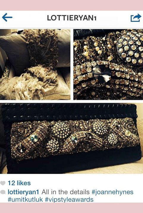 Lottie Ryan accessorizing with her JH embellished clutch at the IFTAs