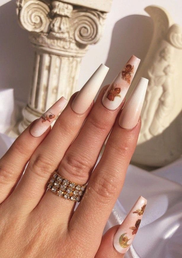 Anjinho Branco Peoople In 2020 Coffin Nails Designs Angel Nails Long Acrylic Nails