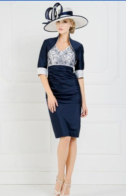 Navy Blue Mother Of The Bride Knee Length Outfits Wedding Guest Formal Dresses