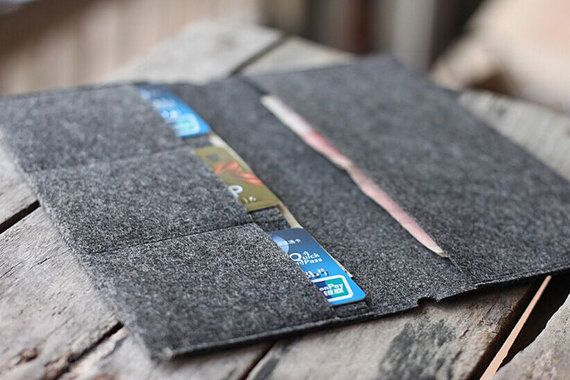 Felt Card Holder/Wallet insert for Midori styleTravelers Notebook // Credit Card Holder // Card Organizer //