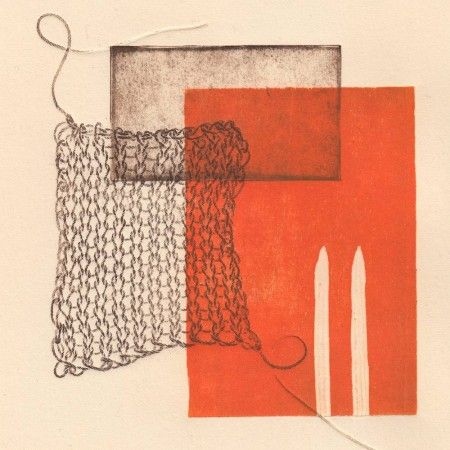Mixed media art techniques... Collagraph printmaking + knitting #fusion #textiles