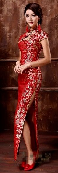 Dragon pattern bridal cheongsam                                                                                                                                                                                 More