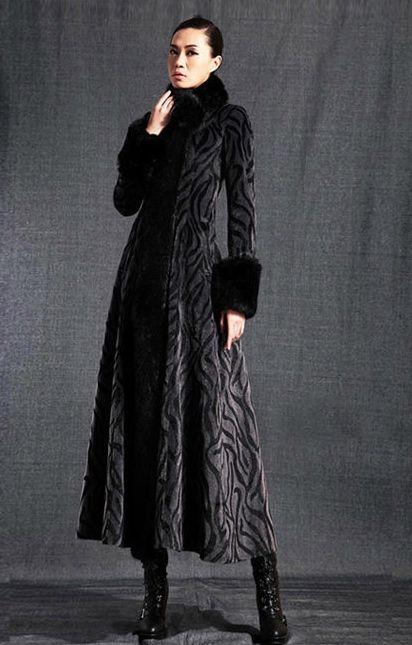 Maxi Coat With Faux Fur Trim