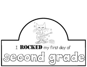 """Every year we read """"Pete the Cat Rocking in my School Shoes"""" by Eric Litwin (artwork by James Dean). I made this hat to go along with the story being read on the first day of school. I would print it on white card stock, let students color, and then attach to a sentence strip that you can fit around each child's head."""