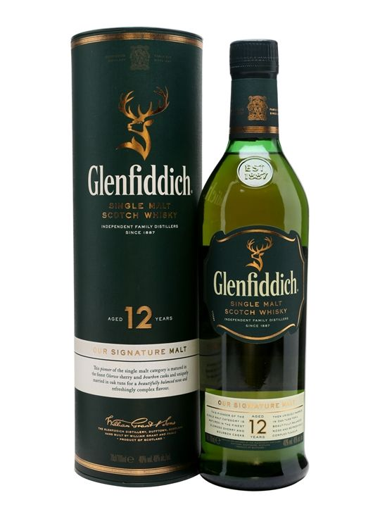 One of the world's best-selling malts, Glenfiddich 12yo's famous triangular bottle is a fixture in practically every bar on the globe. Light and easy-drinking stuff loved by millions.