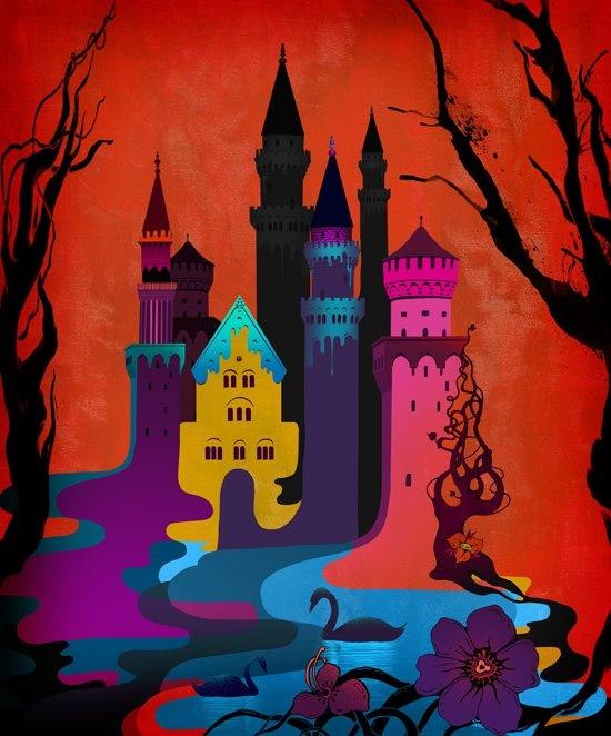 Podría ser la ilustración que Linn Olofsdotter hizo del castillo de la Bella durmiente.