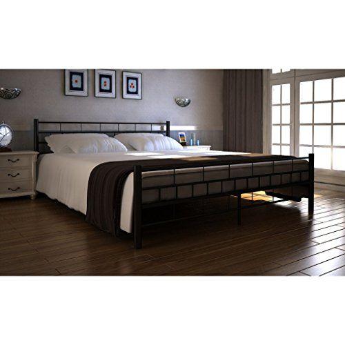 Festnight Metall Bett Doppelbett Metallbett Bettgestell Polsterbett Schlafzimmerbett mit 160x200 cm Matratze Schwarz