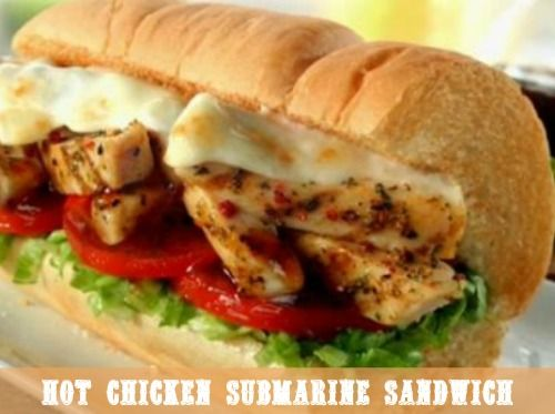 Hot Chicken Submarine Sandwich. Call on these quick submarine sandwiches when you have a hungry brood and not much time.  #sandwich #chicken