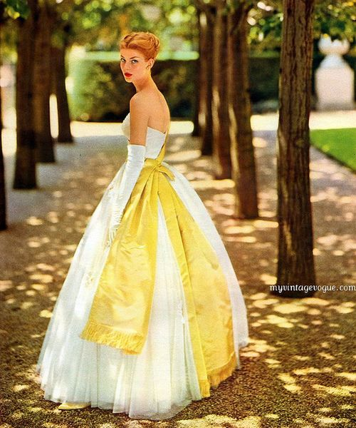 1960: Vintage Gowns, Wedding Dressses, Evening Gowns, Bows, Yellow, The Dresses, Vintage Vogue, 1950S Fashion, 1960