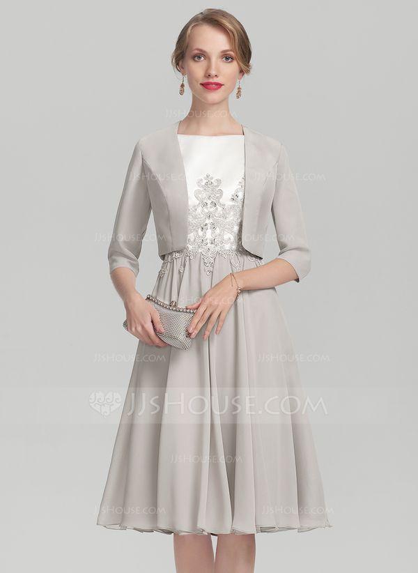 A-Linie Princess-Linie U-Ausschnitt Knielang Chiffon Satin Kleid für die  Brautmutter mit Perlstickerei Applikationen Spitze 7bd0d62b22