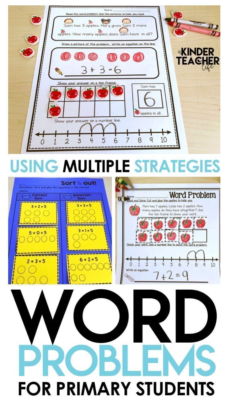 Addition Word Problems Compare Think Boards And Posters Sums Within 10 Addition Word Problems Addition Words Word Problems