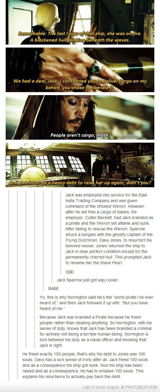 Now it makes sense. Interesting in depth look at Pirates of the Caribbean...