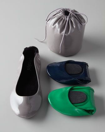 A great solution for those who have a love/hate relationship with their heels, these foldable patent ballet flats for the gal on the go have...