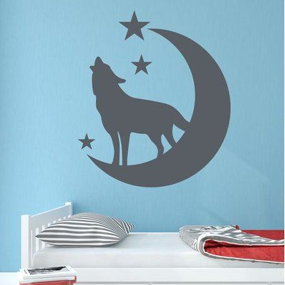 "Style and Apply Wolf with Moon and Stars Wall Decal Color: Pastel Orange, Size: 27"" H x 24"" W"