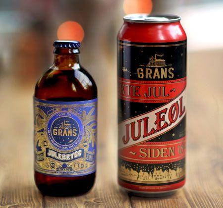 Grans Juleøl and Julebrygg beer packaging