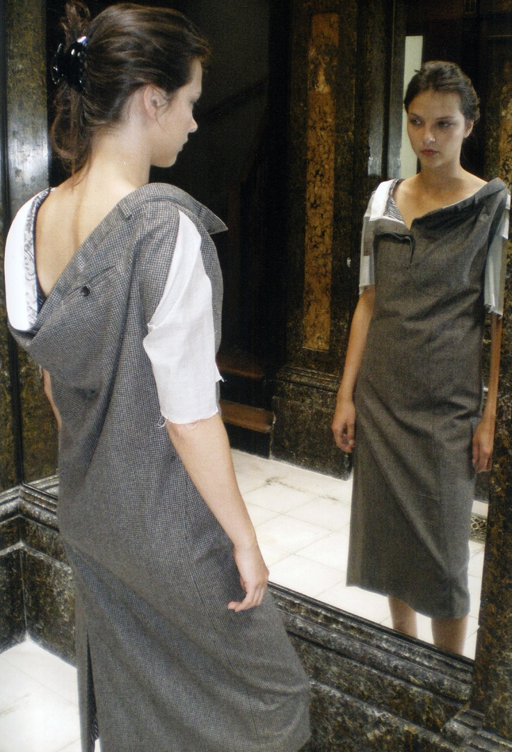 This dress made me famous – it is a pair of men's trousers transformed into a woman's dress.    Anne Valérie Hash    Suiting Fabric Dress    Anne Valérie Hash, 2001