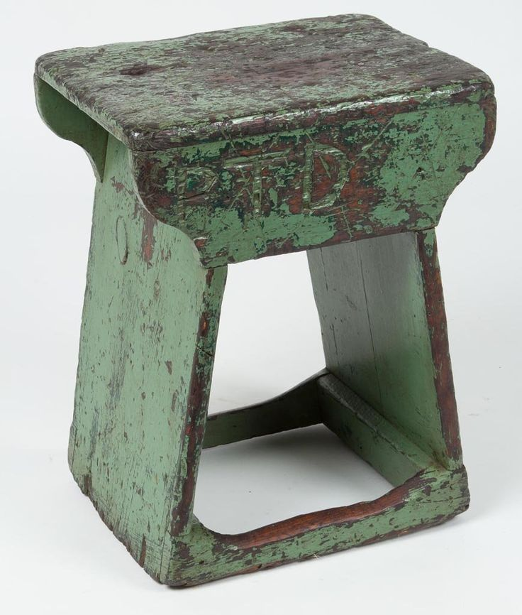 little wooden stool w/old chippy paint