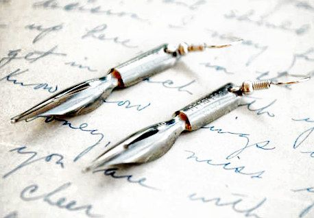 Antique Fountain Pen Nib Earrings - Gifts for Writers and Shakespeare Lovers. $40.00, via Etsy.