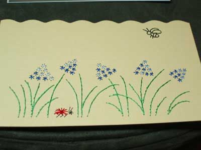 Hand Embroidered Greeting Cards After Piercing Holes