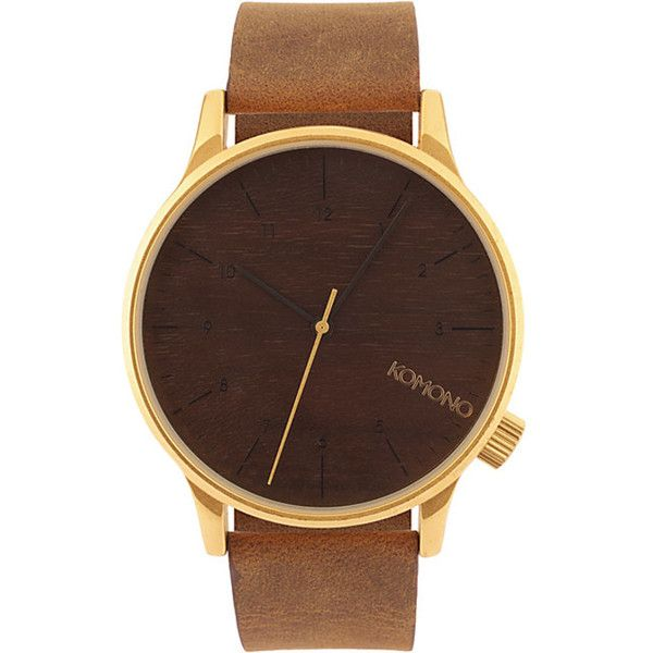 Gold Winston Watch ($115) ❤ liked on Polyvore featuring men's fashion, men's jewelry, men's watches, jewelry, watches, mens leather strap watches, men's wood grain watches, mens leather band watches, mens brown leather watches and mens gold watches