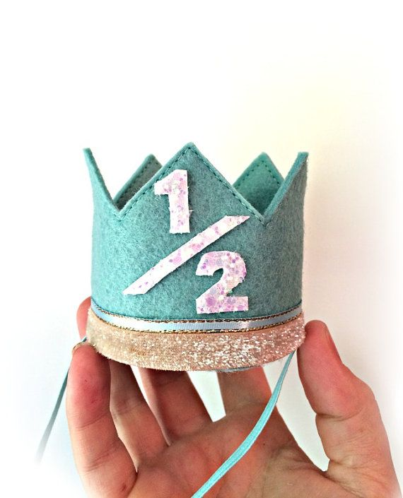 Half Birthday Crown Beach Felt Crown MEDIUM Any Age Birthday Crown Headband on Etsy, $22.50