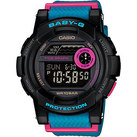 This shock and water resistant watch is made with sporty design accented with vibrant colors, and features dual tide charts for activities like surfing or swimming.