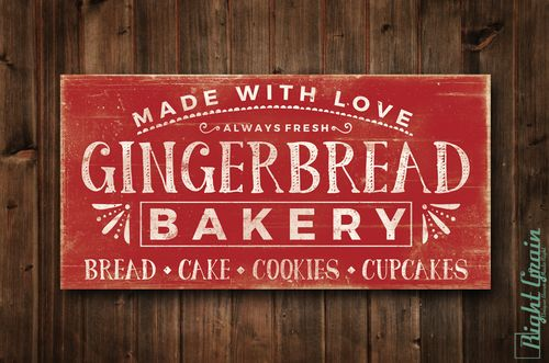 Rustic Christmas Decor Vintage Gingerbread Bakery Sign