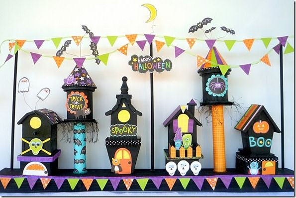 Halloween village made with $1 birdhouses from the craft store.