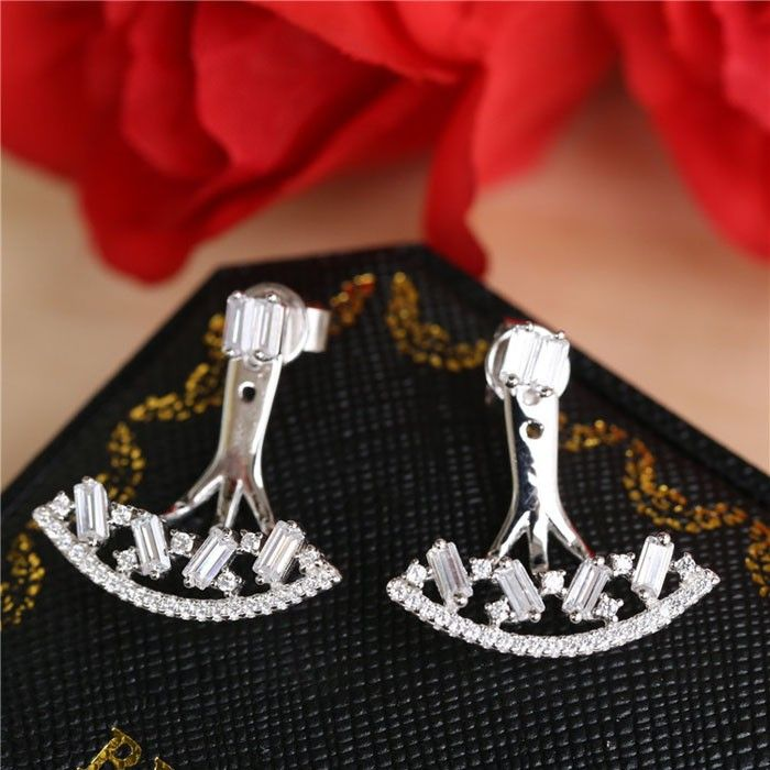 SJ Brand New SJAE0048 Costume Accessory Healthy Silver Cubic Zirconia Synthetic Diamond Real Gold Plated Earring for Girl