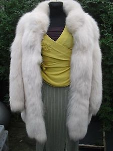 #White#real#arctic#fox#fur#jacket#coat#White#Christmas#Wedding#cape#UK#size#10#12#14#celebrities#style#great#condition#