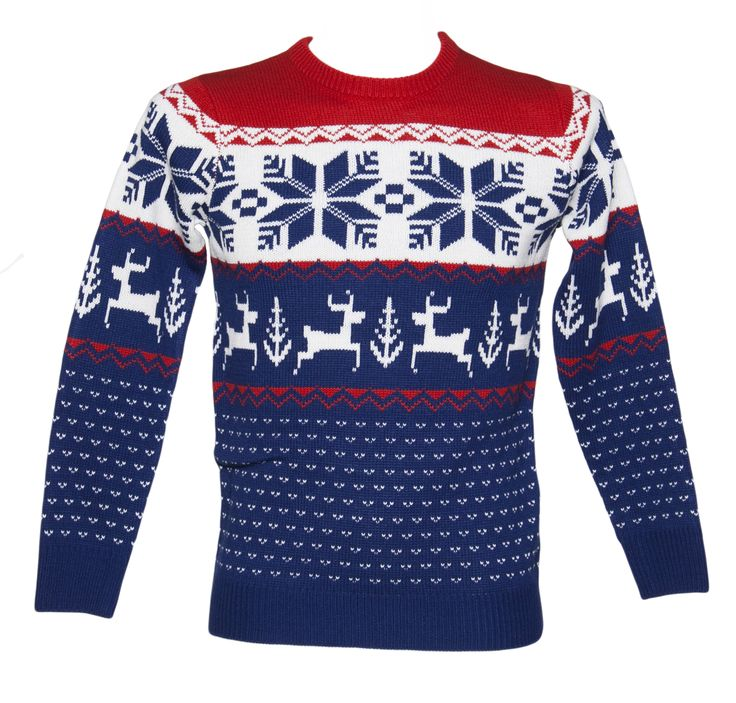 Unisex Blue and Red Wonderland Knitted Christmas Jumper