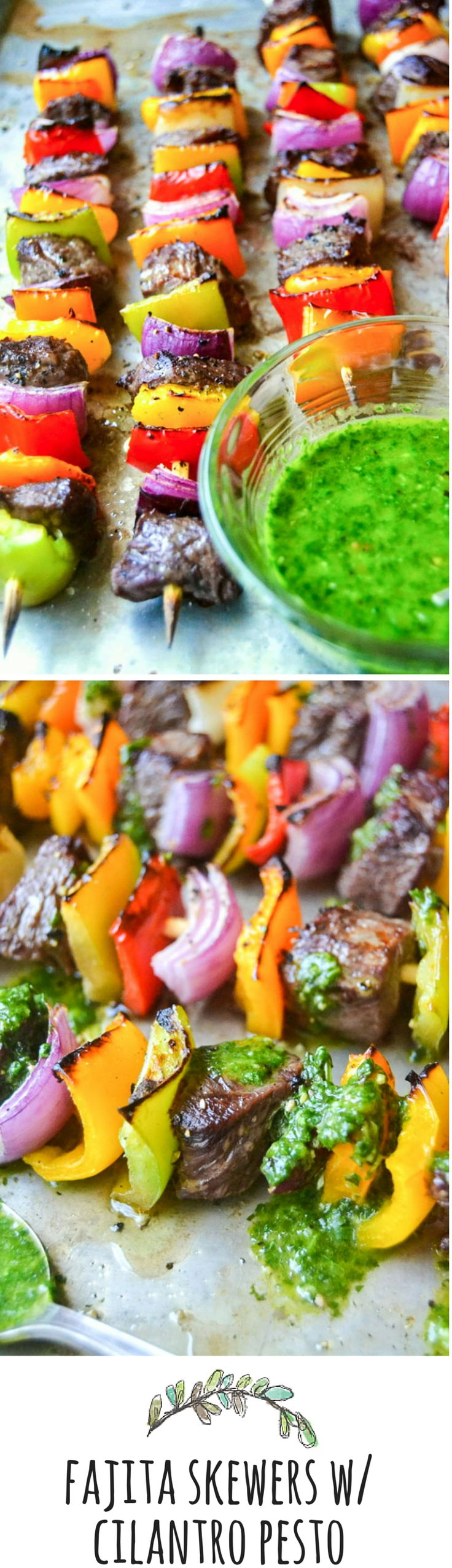Top Sirloin Steak Fajita Skewers with Cilantro Pesto _ Grilling brings out the natural flavor, & the sauce packs a powerful punch of citrus & cilantro. These are a fun, festive, & healthy way to eat!