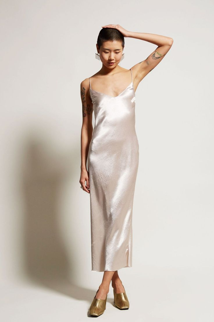 No.6 Kate Slip Dress Long in Oyster Washed Satin
