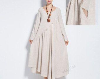 Anysize NEW VERSION with sides seam pockets  vogue linen&cotton maxi dress plus size dress plus size clothing  spring summer dress  Y66