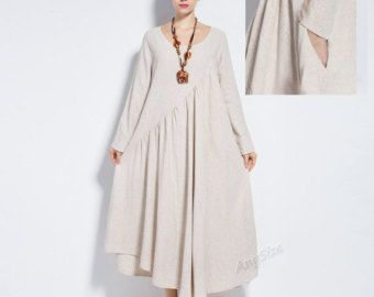 Anysize NEW VERSION with sides seam pockets  vogue linen&cotton maxi dress plus size dress plus size clothing  spring summer dress  Y66