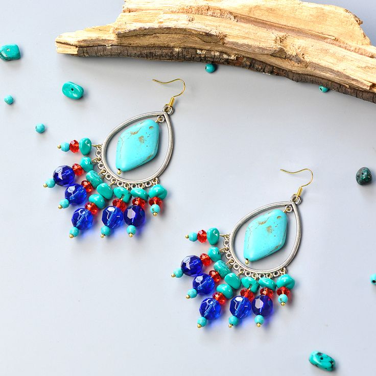 1006 best earrings 2 images on pinterest earrings bangle chandelier earrings with turquoise beads cool chandelier style earrings with turquoise beads and glass beads aloadofball Image collections