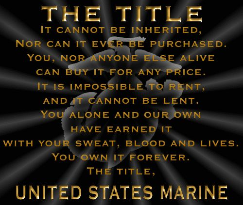 The Title. Happy Birthday United States Marine Corps.