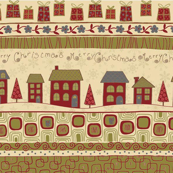 Vánoční bavlněná látka PANEL Domky krémové