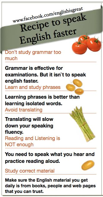 Recipe to speak English faster. - Repinned by Chesapeake College Adult Ed. We offer free classes on the Eastern Shore of MD to help you earn your GED - H.S. Diploma or Learn English (ESL) . For GED classes contact Danielle Thomas 410-829-6043 dthomas@chesapeake.edu For ESL classes contact Karen Luceti - 410-443-1163 Kluceti@chesapeake.edu . www.chesapeake.edu
