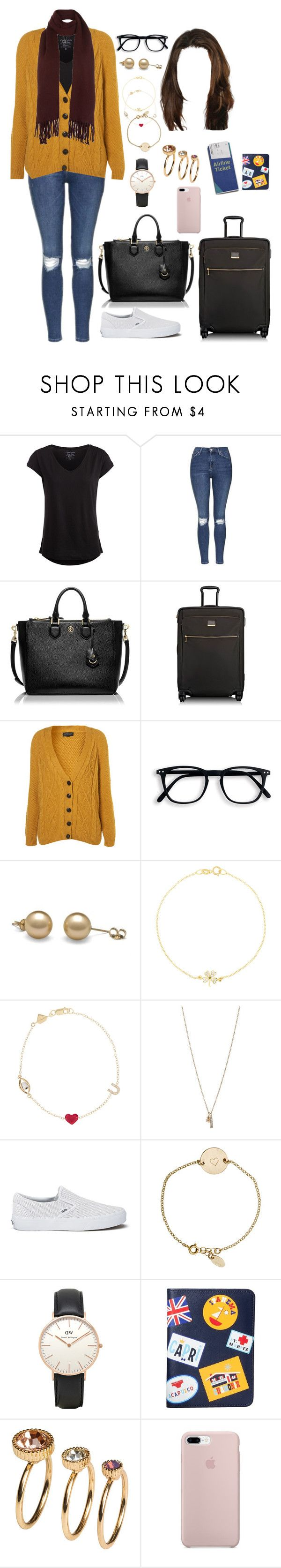 """AZE (flight to)"" by ittgirl ❤ liked on Polyvore featuring Pieces, Topshop, Tory Burch, Tumi, Jennifer Meyer Jewelry, Alison Lou, Minor Obsessions, Vans, Nashelle and Jonathan Adler"