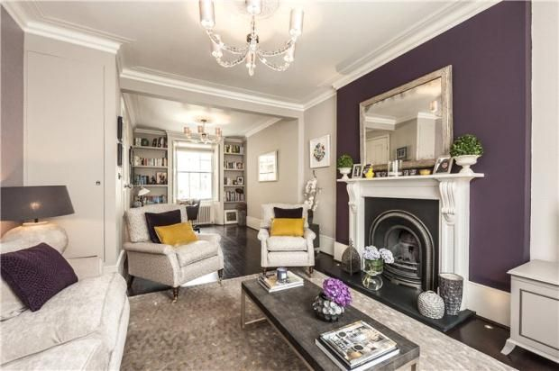 Aubergine feature wall living room pinterest notting for Purple feature wallpaper living room